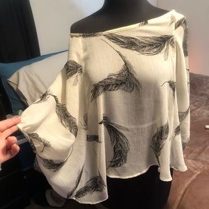 Feather poncho style top from One Clothing. OS
